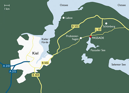 Anfahrtskizze zur Fischerwiege am Passader See