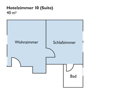 Plan von Zimmer 10 (Suite)